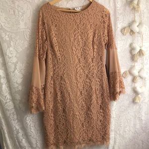 NWT Venus lace mauve dress long sleeve sz 12